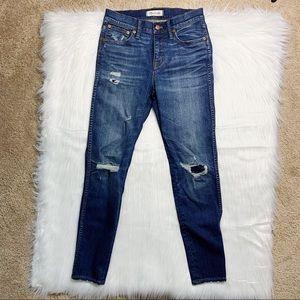 "Madewell 9"" High Riser Skinny Skinny Distress Jean"